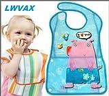 #4: LWVAX Multicolors Baby Bibs Waterproof Feeding Baby Saliva Towel Apron Pack of 2