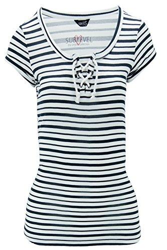 Sublevel Damen T-Shirt Shirt Anker Sailing Kordeln Weiß Blau