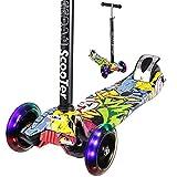 Scooter für Kids–Miss eedan 3Rad Schlepplift Verstellbare Höhe Kick Roller mit Deluxe PU blinkenden Rädern breit Deck für Jungen/Mädchen von 2bis 14jährige, Pop Grafitti