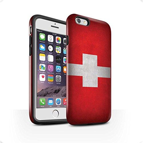 STUFF4 Glanz Harten Stoßfest Hülle / Case für Apple iPhone 7 / Russland/Russische Muster / Flagge Kollektion Schweiz/Swiss