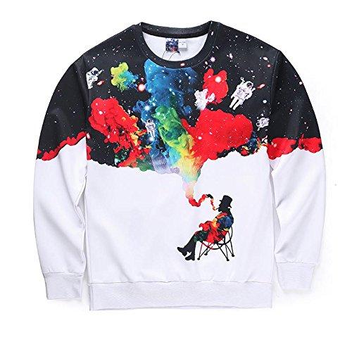 TOPDCLSN Ankunft Männer/Frauen 3D-Sweatshirts lustig Drucken Rauchen Person Colroful Rauch Space Galaxy Thin and Hoodies, S 167608,4 XL