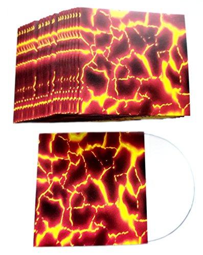 CD Hüllen aus Karton in Design Lava-Rot bedruckt, CD Kartonstecktaschen (Papphüllen) für je 1 CD/DVD/Blu-ray Rohling 50er Pack - Made in Germany