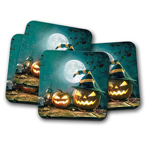 4er-Set – Gruselige Kürbis-Untersetzer – Halloween Vollmond Totenkopf -