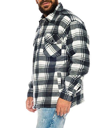 flanellhemd arbeitshemd Holzfällerhemd Arbeitshemd Flanellhemd/Jacke Kariert Thermohemd gefüttert 01 (XXXL, 02 Weiß/Schwarz)