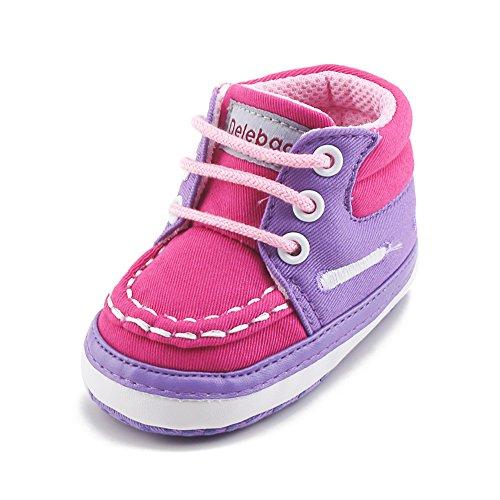 Delebao stivaletti primi passi bimba scarpe neonato high-top scarpe da ginnastica calzature bambino ragazzi e ragazza (rosa1,12-18 mesi)