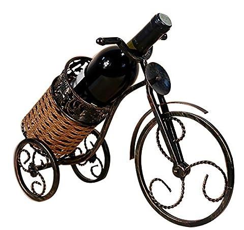ZRJNYL Vintage Rattan Tricycle Red Wine Rack Iron Plus Matériel de corde d'herbe Étagères de vin Exquis élégant style artistique Porte-bouteille de vin Porte-bouteille de vin Porte-bouteilles
