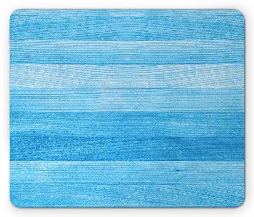 Pale Blue Mouse Pad, Wooden Planks Painted Texture Image Oak Tree Surface Maple Pine Board Stripes, Standard Size Rectangle Non-Slip Rubber Mousepad, Pale Blue -