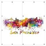 Wallario XXL Garten-Poster Outdoor-Poster - Städte als Aquarell - Skyline von San Francisco in Premiumqualität, für den Außeneinsatz geeignet