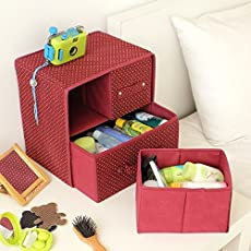 Skyfun 2 Layer-3 Drawer Foldable Fabric Storage Box Bra Underwear Socks Makeup Cosmetics Closet Organizer Collapsible Cabinet Drawers-Multi Color
