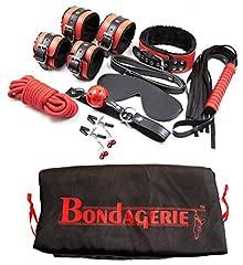 Idea Regalo - BONDAGERIE BDSM Kit Alta qualità, incluso Sacco Velluto (Manette frustino benda bondage)