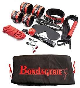 BONDAGERIE® BDSM Kit Alta qualità, incluso Sacco Velluto (Manette frustino benda bondage)