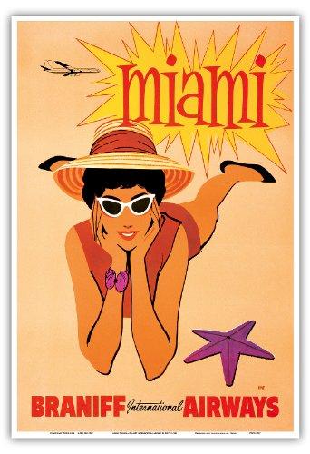 Anzeigen Vintage Florida (Miami, Florida - Braniff Internationalen Luft - Vintage Retro Fluggesellschaft Reise Plakat Poster von Hoyt c.1960 - Kunstdruck - 33cm x 48cm)