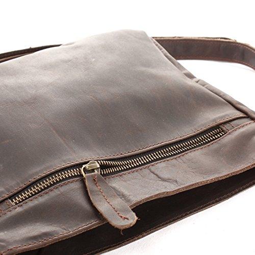 LECONI Umhängetasche Schultertasche Leder Freizeittasche für Damen und Herren kleine Ledertasche 26x22x3cm LE3058 dunkelbraun �?waxy