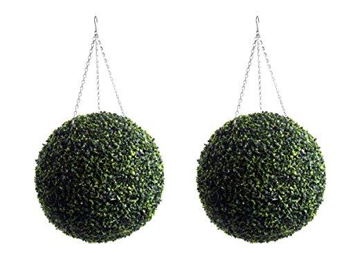 2 Grand Meilleur artificielle (TM) foncé 50 cm Boules de buis artificiel topiaire Herbe Buis