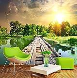 Fototapete 3D Wallpaper Classic Holz Brücke Fluss Sonnenuntergang Wald Natur Landschaft 3D Wandbild Wohnzimmer Tv Hintergrund Home Decor Fresken, 430Cmx300Cm