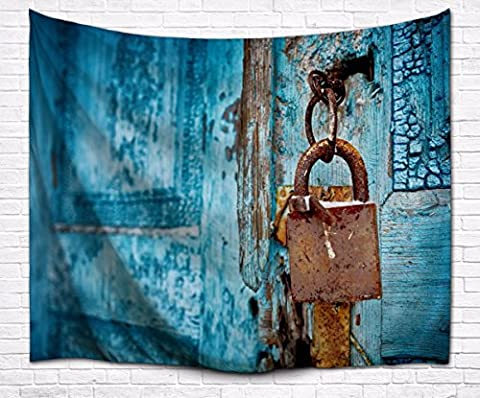A.Monamour Vintage Blue Wood Rustic Lock Distressed Country Garage Door Art Print Fabric Tapestry Wall Hanging Decorations for Bedroom