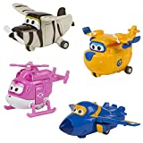 Super Wings - Lote 4 personajes transformables: Donnie, Jerome, Dizzy o Bello (ColorBaby 75867)