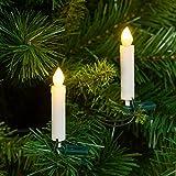 Pack 20 Velas LED con clip para árbol de Navidad, LED luz cálida, efecto llama, pinza verde, adornos luminosos