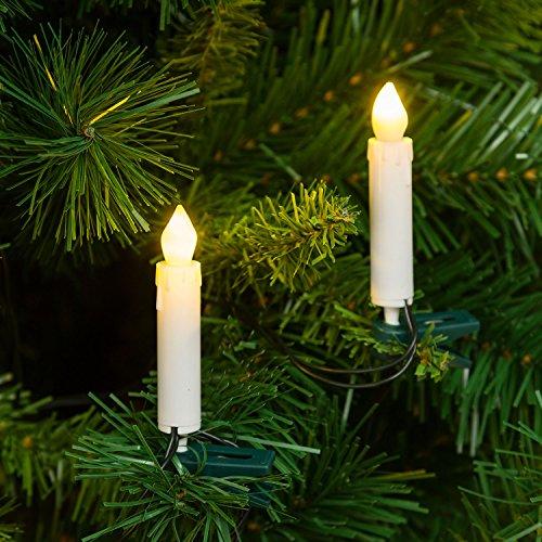 Catena decorata 11,4 m, 20 candeline per albero con clip, led bianco caldo, effetto fiamma tremolante, cavo verde, 24V, esterno