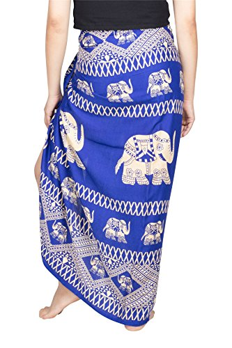 Lofbaz Damen Strand Pareo Sarong Wickeltuch Strandkleid Chabaa Design #5 Blau