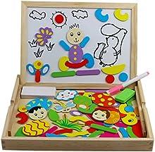 Tablero de Dibujo Magnético de Madera Doble Cara Magnético Rompecabezas Juguetes Juguetes educativos para niños 3+