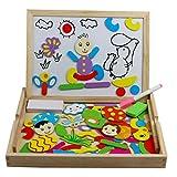 Lavagna Magnetica Puzzle di Legno Tavolo da Disegno Doppio Formato Bambino Giocattoli con Contenitore