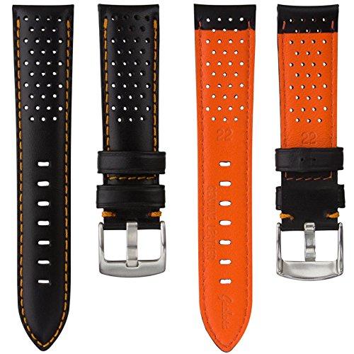 cinturino-orologio-geckotar-vera-pelle-perforato-nero-arancione-22mm