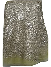 Inhika Women's Net Unstitched Blouse Fabric (F50310450699_50cm_Gold)