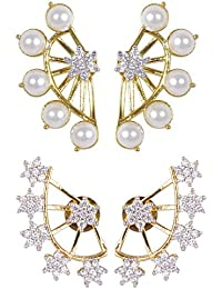 Shining Diva Gold-Plated Ear Cuffs Earrings For Women/Girls ,Combo Of 2