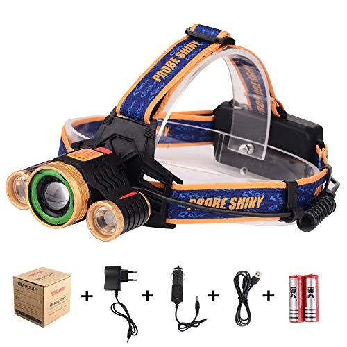 Stirnlampe LED, USB Wiederaufladbare, Super hell Wasserdichte Kopflampe 4 Wege, Wählen Fokus Verstellba, Ideal als Helmlampe, Joggen, Campen, Angeln