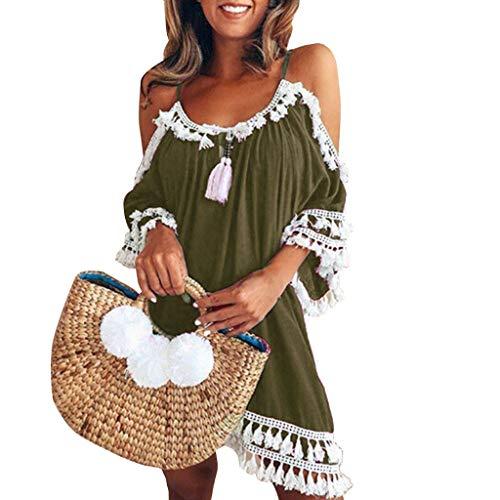 WHSHINE Damen Strandkleider ärmellos Sommerkleid Frauen Ärmellos Hals hängen Quaste Schulterfreie Kleiden Freizeitkleid Einfarbig Loose Boho Kleider
