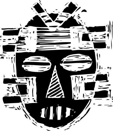 T-Shirt E529 Schönes T-Shirt mit farbigem Brustaufdruck - Logo / Grafik - abstraktes Design - Maske des Kriegers / afrikanische Stämme Schwarz