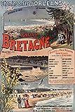 Plakat Vintage/Retro der Strände von Bretagne - Format 40