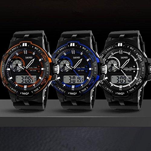 PhilMat Banda de goma de 5ATM Skmei hombres LED deportes digitales reloj de pulsera resistente al agua