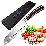 Couteau de cuisine, Massway Couteau de Santoku 17cm en Acier Allemand, Couteau Japonais, avec poignée ergonomique Couteau à tout faire marron