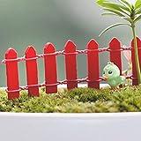 5Pcs Garten Ornament Miniatur-Holzzaun Figurine Craft Blumentopf Fee Dekor DIY - Rot