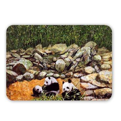 Happy Family (Pandas) 1993 (gouache on silk).. - Mouse Mat Art247 Highest Quality Natural Rubber Mouse Mats - Mouse Mat