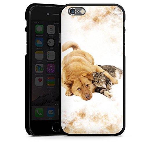 Apple iPhone 4 Housse Étui Silicone Coque Protection Chien et chat Chat Chien CasDur noir