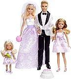 Barbie Coffret Mariage 4poupées, dont deux mariés et deux demoiselles d'honneur, jouet pour enfant, DJR88