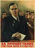 La Unión Soviética ruso Propaganda para el éxito de la ciencia Soviética y Cultura Póster en satén 200gsm A3 tarjeta del arte
