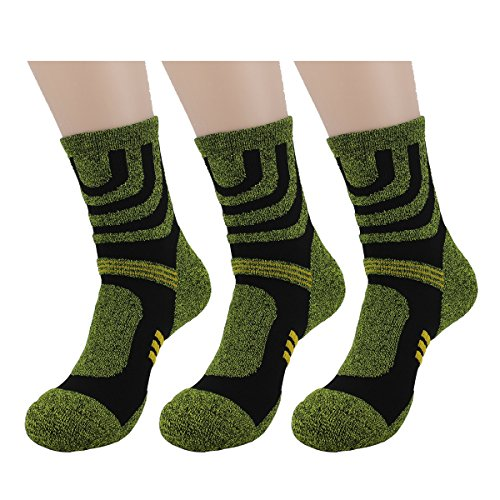 Waymoda 3 Pairs Adults Crew Socks- Outdoor Running Hiking Trekking Athletic Sports Socken, Quick Drying, Polyester comfy Elastic Non Slip buffer Liner Cushioned, Unisex Mens Womens UK 6-10/EUR 39-44 (Socken Running Crew Athletic)