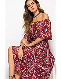 4966015cb320 HUBINGRONG Le Donne di Estate Boho Maxi Sexy Dress Manica Corta Fessura  Laterale Fashion Design Sciolto