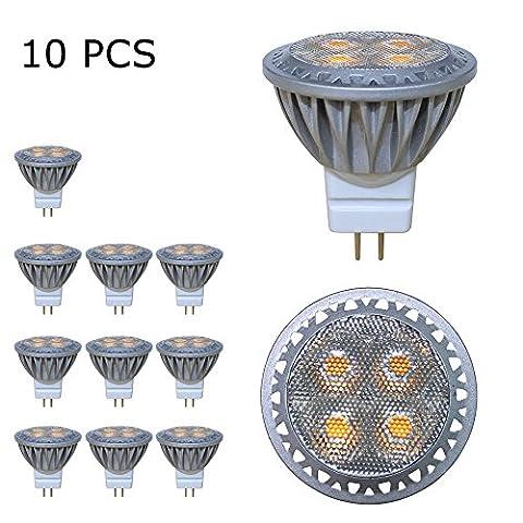 BAOMING GU4 MR11 (35mm Durchmesser), 3Watt,AC/DC 12V LED Lampe 35W Gluhlampe, 250lm, Warmweiss 2700K LED Leuchtmittel, ersetzt 35 Watt Halogen, 30 Punktbeleuchtung 10er