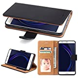 Huawei Honor 8 Hülle, SOWOKO Ledertasche Schutzhülle Flip Case Brieftasche Handytasche mit Kartenhalter und Ständer/ Magnetverschluss für Huawei Honor 8, Schwarz