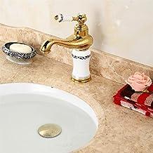 CNBBGJ Europeo cobre chapado en oro rosa oro lavabo grifo caliente y fría porcelana azul y blanca para lavabo
