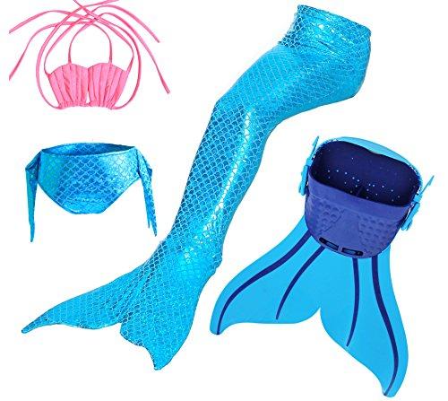 Likeep™ Mädchen Meerjungfrauen Bikini Tankini Kostüm Meerjungfrau Schwimmanzug Badeanzüge Meerjungfrauenschwanz + Schwanzflosse + niedlich Muschelbikini Der Hingucker im Schwimmbad! (110cm, Ocean Blue)