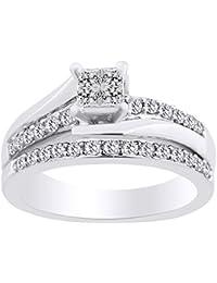 Juego de anillos de novia de princesa y diamante natural blanco en oro sólido de 10