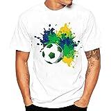 T-Shirt Coupe du Monde 2018,Été Homme Respirant Maillot de Football Manches Courtes Garçon T-Shirt Imprimé Fleurs Bleu France ELECTRI (S, A)