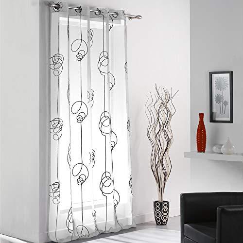 Douceur d'intérieur 1622788 - tenda con occhielli, in voile di poliestere stampato, motivo spirali irregolari, 240 x 140 cm, 1 pezzo, colore: bianco/nero