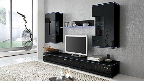 Anbauwand 5-tlg. Hochglanz Schwarz, 2 x TV-Element B: 110 cm, 2 x Hängevitrine B: 50 cm, Glasbodenpaneel B: 100 cm, Mindestb.: 230 cm, Tiefe: 42 cm